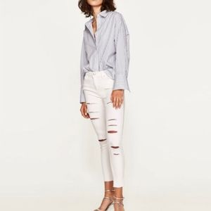 Zara Basic Distressed White Skinny Jeans
